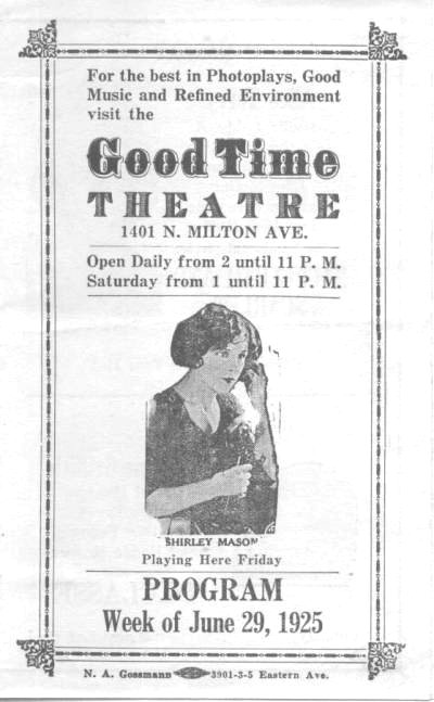 Program 1925 Avenue Good Time Theatre Baltimore