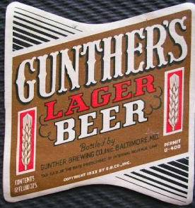 Gunther                 Lager Beer Baltimore