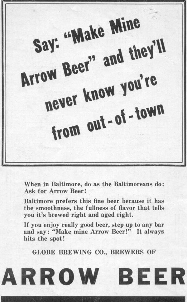 Arrow                 Beer Ad Baltimore
