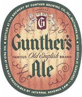 Gunthers beer label Baltimore Ale