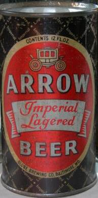 Arrow                 Imperial Lagered Beer can, Baltimore Maryland