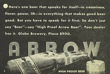 Arrow beer                 Ad Baltimore Maryland
