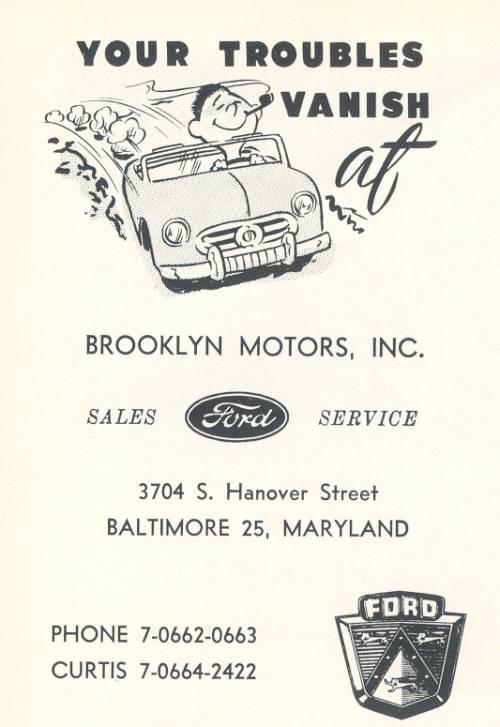 Brooklyn Ford Ad 1950s Baltimore