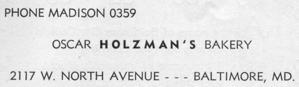 Holzman Bakery Baltimore