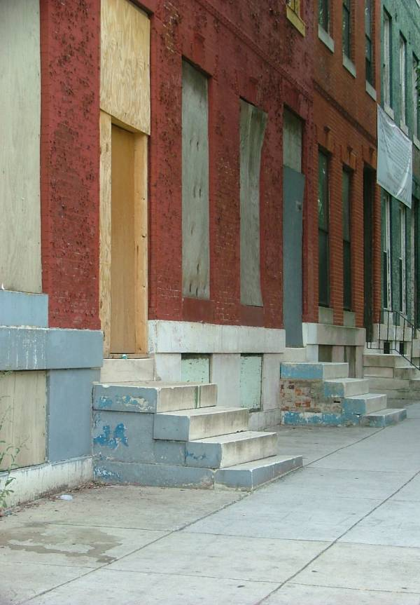 Boarded Up Baltimore Rowhouses