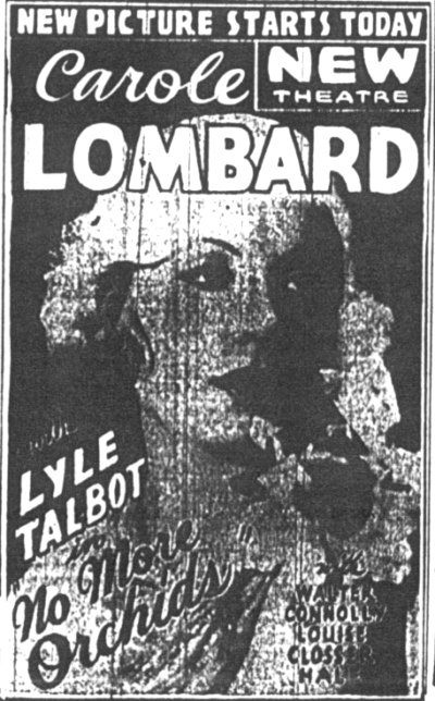 Carol Lombard Ad for the New theatre