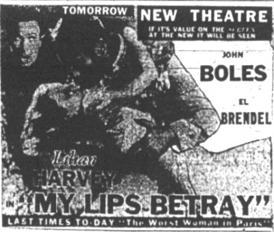 Old  ad for the New Theatre Baltimore Maryland