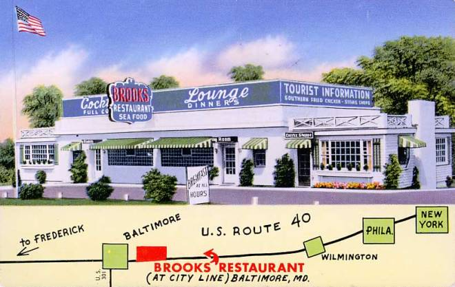 Brooks Restaurant Baltimore Rt 40 PC 1950s