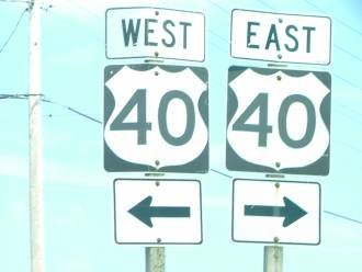 US Route 40 signs Edgewood Maryland