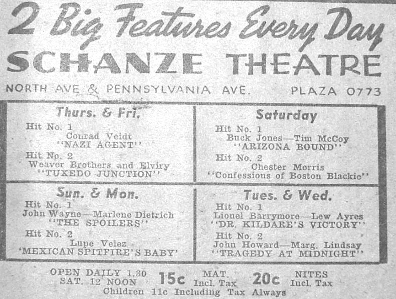 Schanze Theatre ad Baltimore