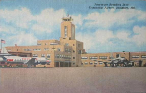 Postcard TWA - Friendship Airport - BWI- 1950's               Postcard