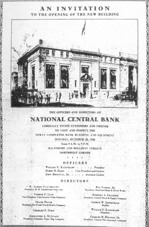 National Central Bank Baltimore Maryland
