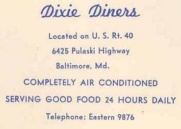 Dixie Diner Ad Baltimore