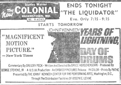 Colonial               Theatre, Hagerstown Md Ad