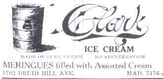 Clark Ice Cream 1907 Baltimore